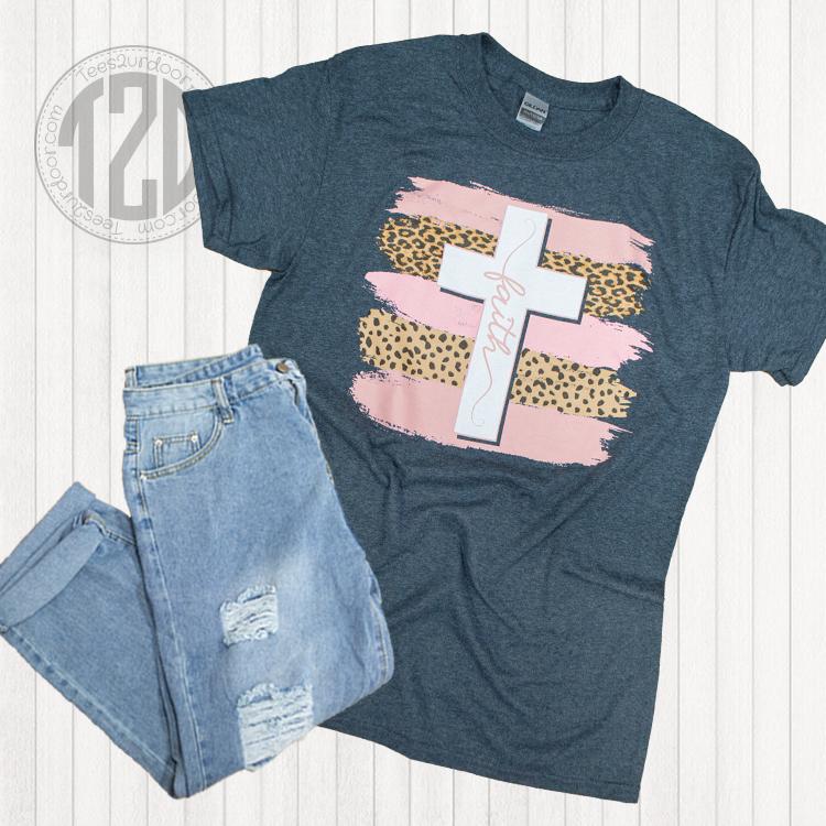 Brush Stroke Faith Cross Graphic T-Shirt