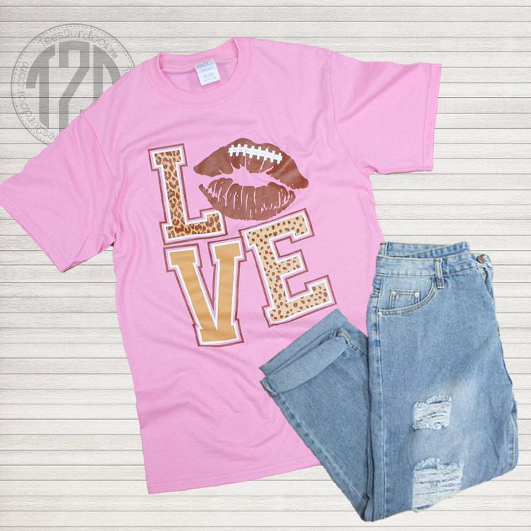 Football Lips Love T-Shirt Pink Flat