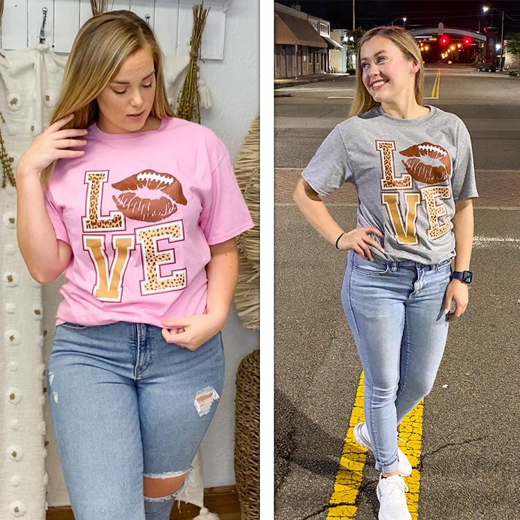 Football Lips Love T-Shirt  Lifestyle
