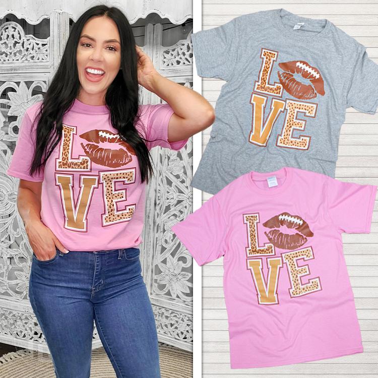 Football Lips Love T-Shirt Product Image