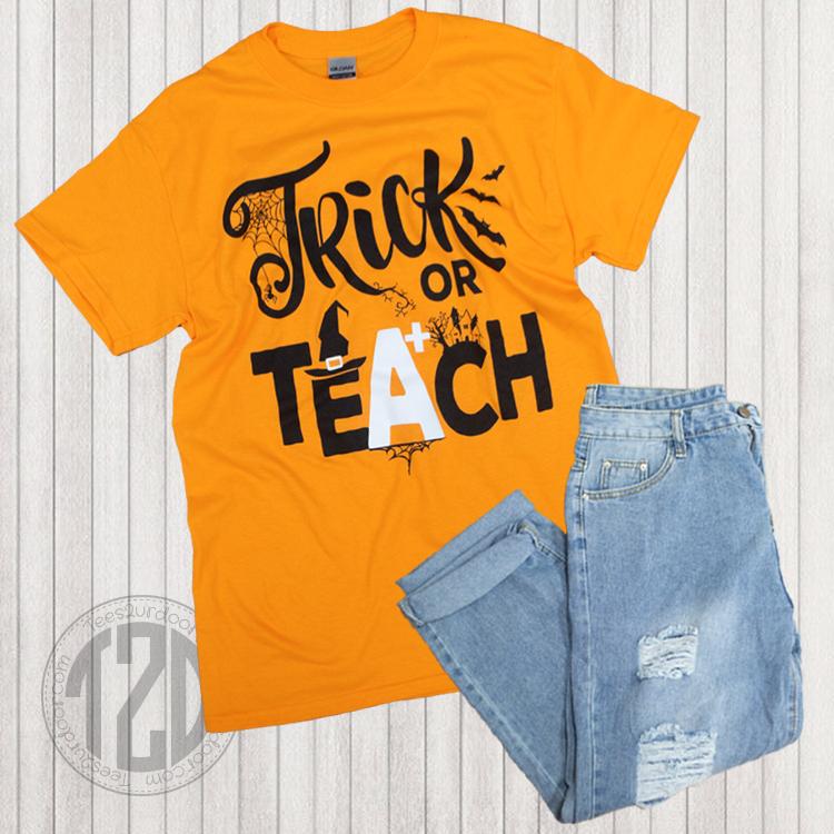Trick or Teach Halloween T-Shirt Flat