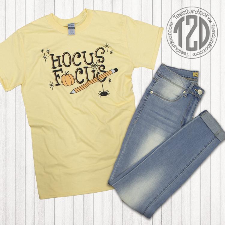 Hocus Focus Teacher Halloween T-Shirt Flat