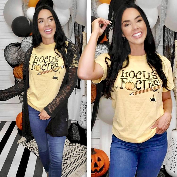 Hocus Focus Teacher Halloween T-Shirt Lifestyle