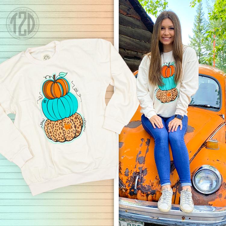 Sassy Stack of Pumpkins T2D Sweatshirt