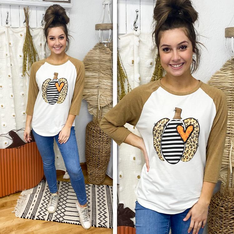 Leopard Stripe Pumpkin Raglan Lifestyle
