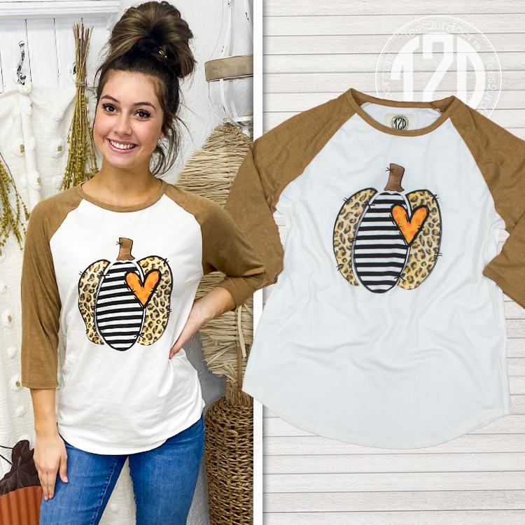 Leopard Stripe Pumpkin Raglan Product Image