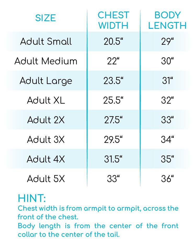 Leopard Stripe Pumpkin V-Neck Size Chart