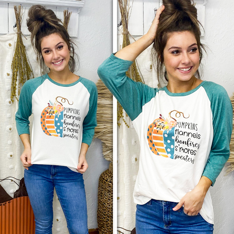 Pumpkins Flannels and Bonfires Raglan Lifestyle
