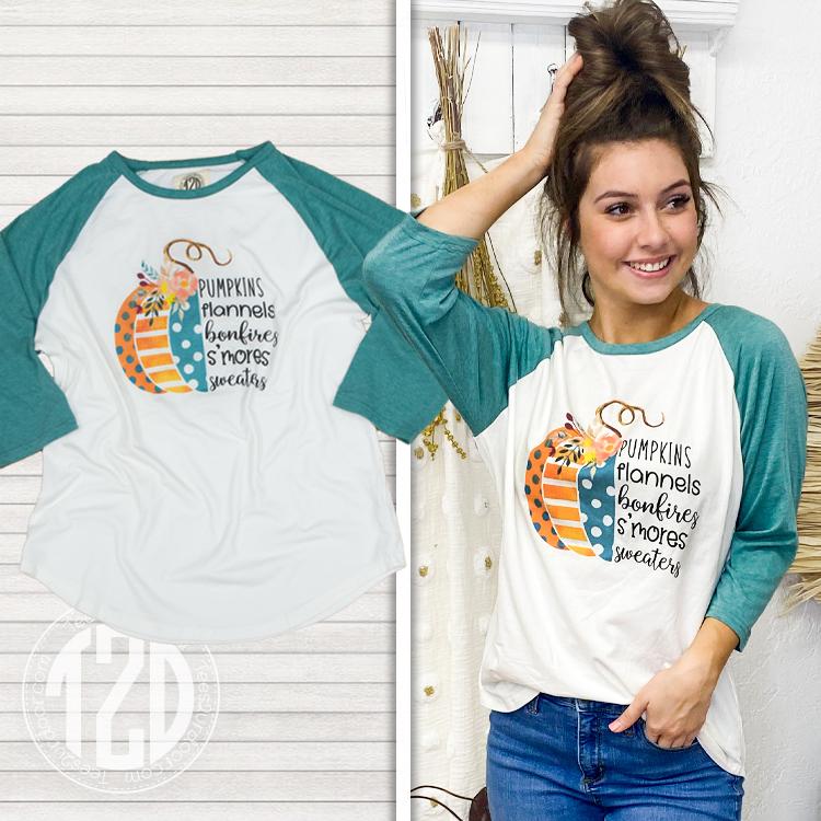 Pumpkins Flannels and Bonfires Raglan Product Image
