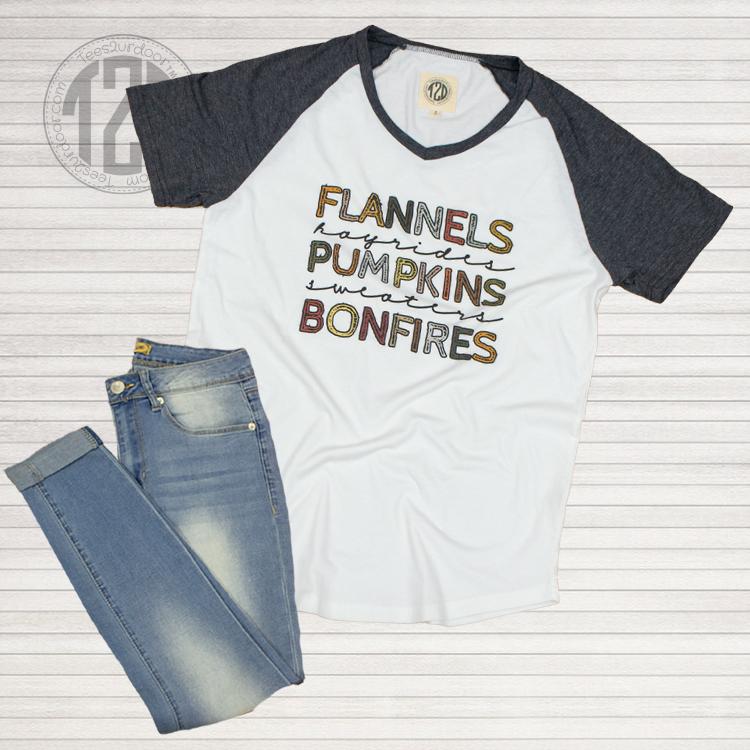 Flannels and Hayrides V-Neck Flat