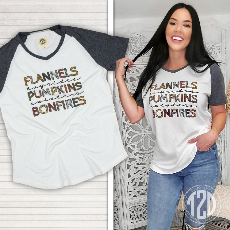 Flannels and Hayrides V-Neck Product Image