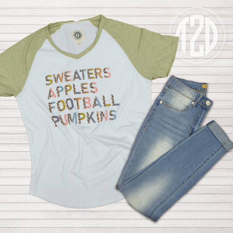 Sweaters, Apples, Football, and Pumpkins V-Neck Flat