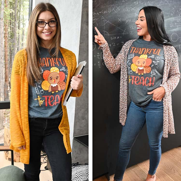 Thankful to Teach Fall Teacher T-Shirt Lifestyle
