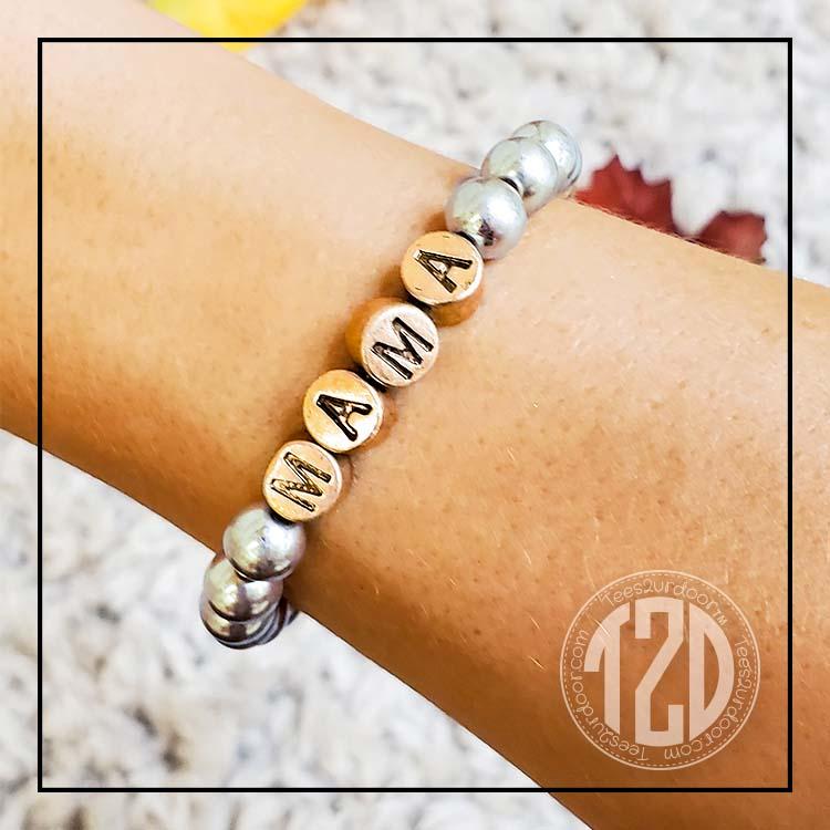 Silver Beaded Stretch Text Bracelet Lifestyle