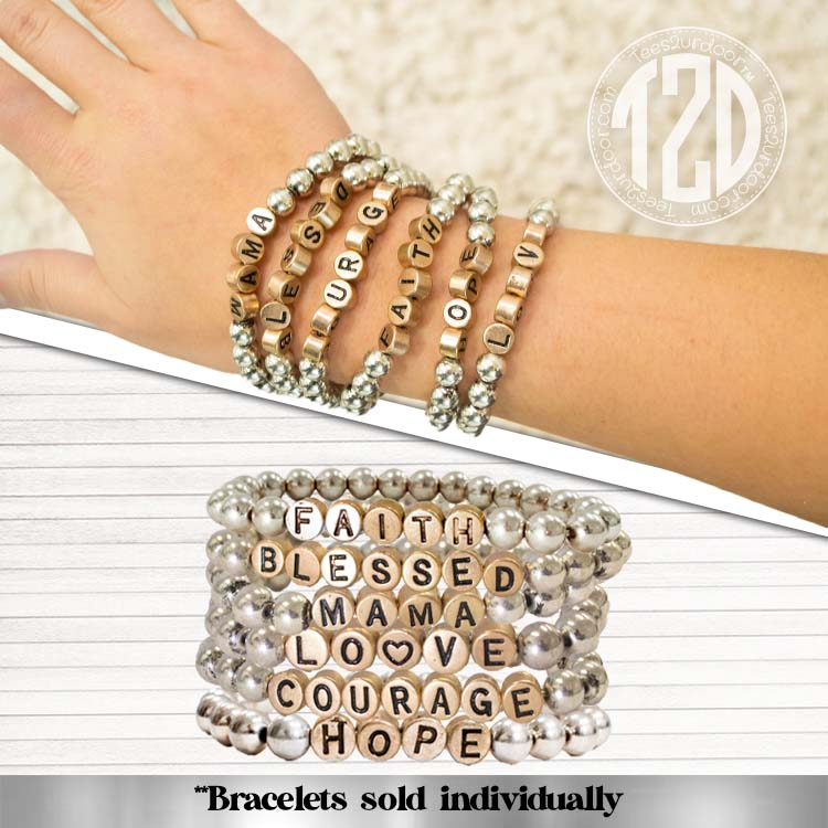 Silver Beaded Stretch Text Bracelet Product Image