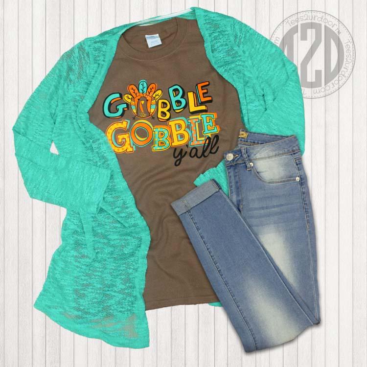 Gobble Gobble Y'all Thanksgiving T-Shirt Flat