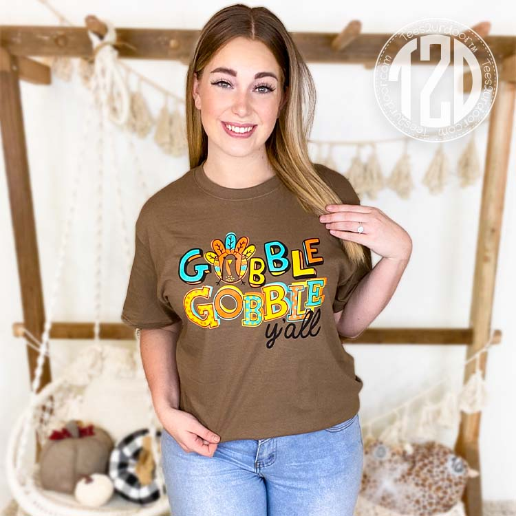 Gobble Gobble Y'all Thanksgiving T-Shirt Lifestyle