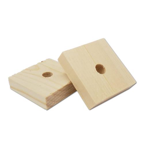 "1-1/4"" x 1-1/4"" x 5/16"" Natural Pine Block -"