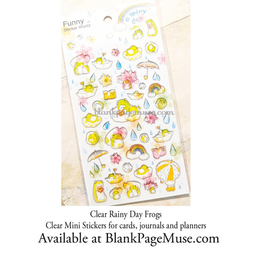 Latech A Rainy Day Sticker Sheet Clear Watercolor Style Frogs Drops and Umbrellas