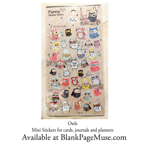 Latech Bubo Whimsical Owl Sticker with Foil Details
