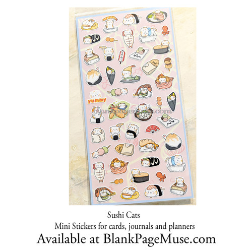 Nekoni Sushi Cat Sticker Mini Stickers Sheet