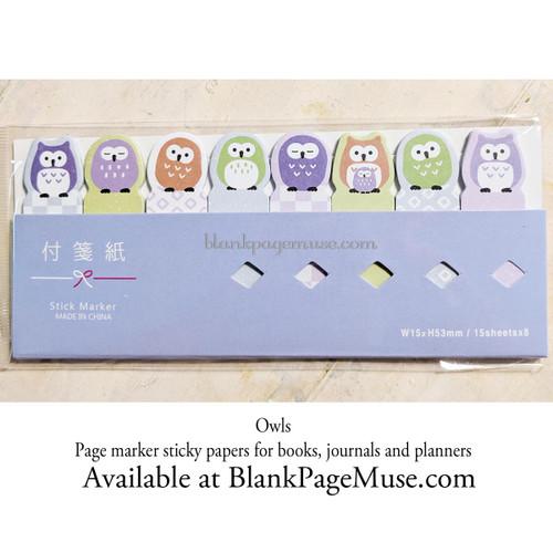 Mind Wave Owl Sticky Tab Page Marker Stickers