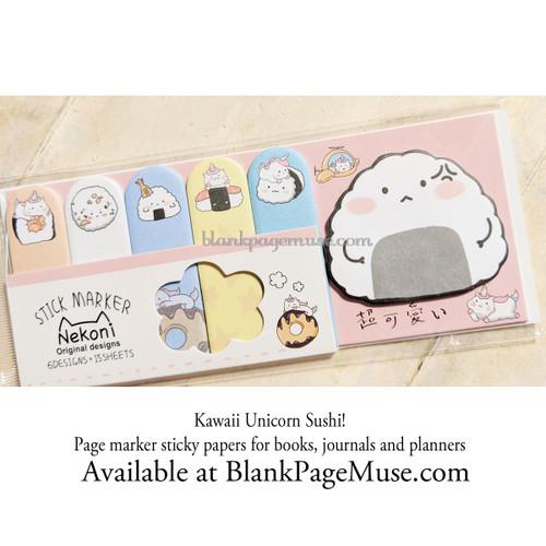 Nekoni Unicorn Sushi Sticky Page Marker Stickers