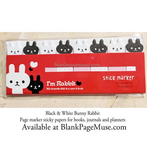Mind Wave I'm Rabbit Black & White Bunny Rabbit Sticky Page Marker Stickers