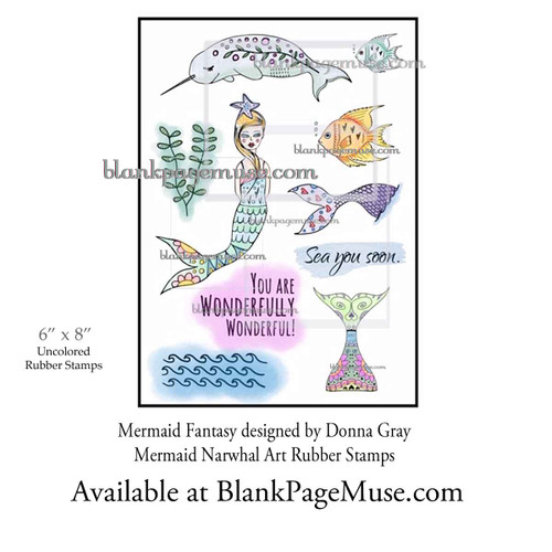 Coloring suggestion mermaid and narwhal rubber stamps