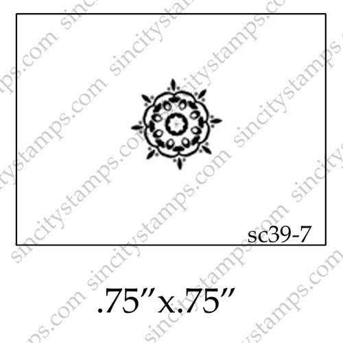 Small Circular Floral Pattern Art Rubber Stamp SC39-7