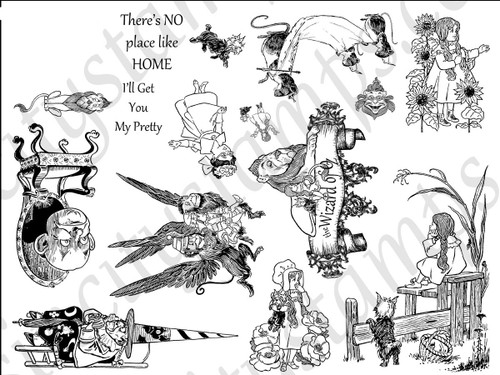 The Wizard of Oz I Art Rubber Stamp Sheet Set SC64