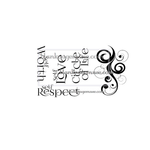 Art journals and greeting card words and curves, Self Respect,Self Love, Self Worth, Circle of Life art rubber stamps not mounted.