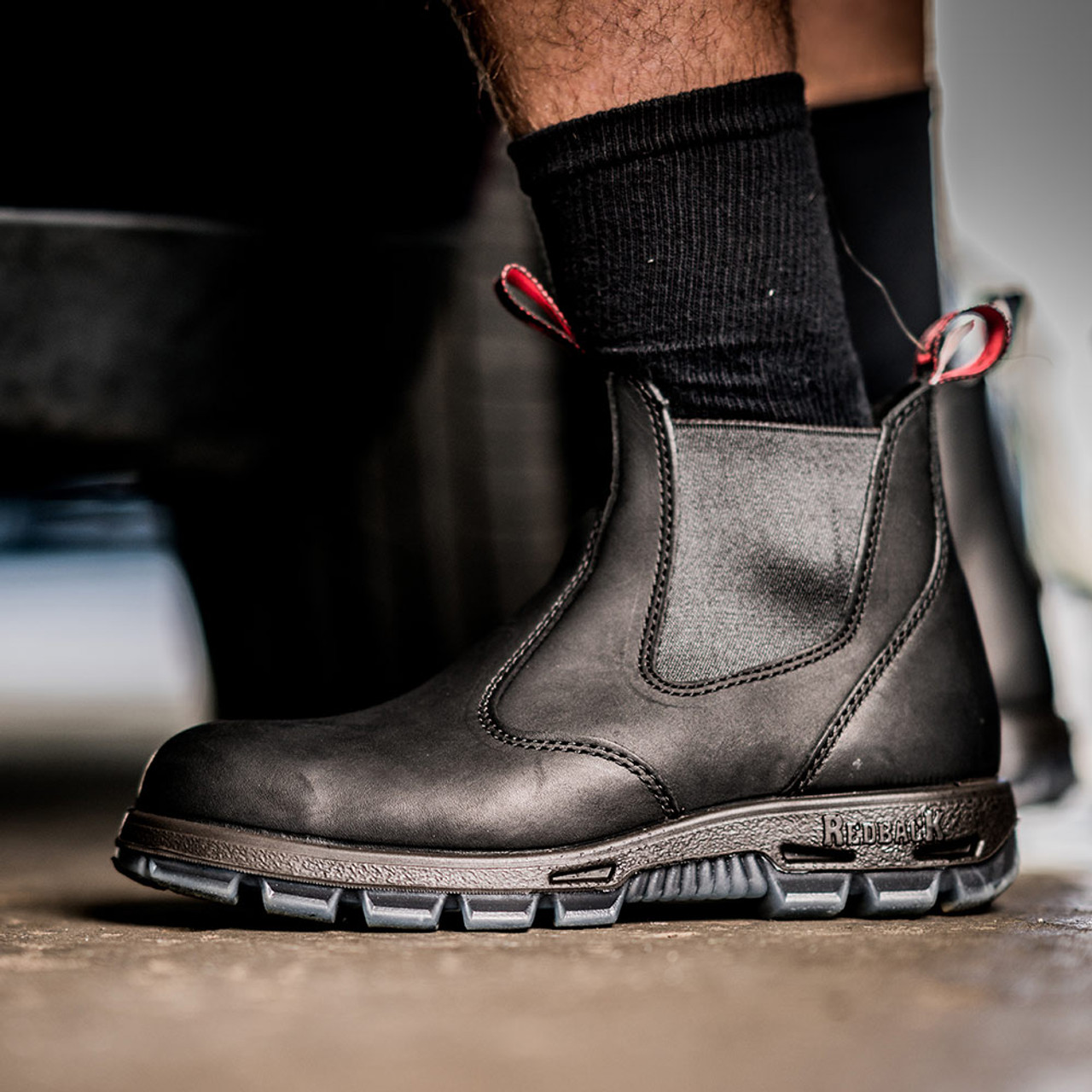 Redback Easy Escape Slip-On NON- STEEL TOE Black Leather Boot. AUSTRALIAN SIZING