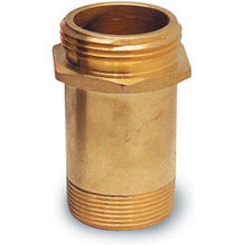 Fire Hose Rack Nipple, Brass, 1 1/2 Inches Male NPT x 1 1/2 Inches Male NST