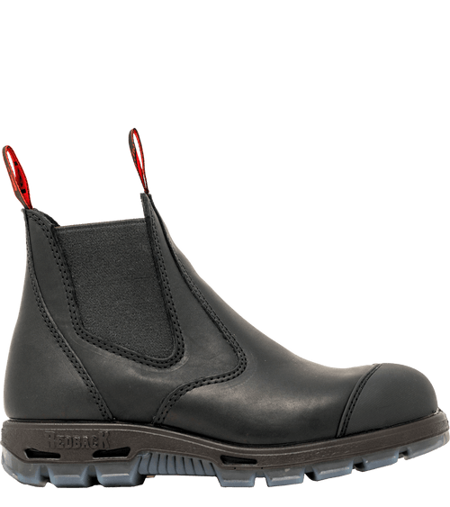 Redback Easy Escape Slip-On NON- STEEL TOE Black Leather Boot. AUSTRALIAN SIZING