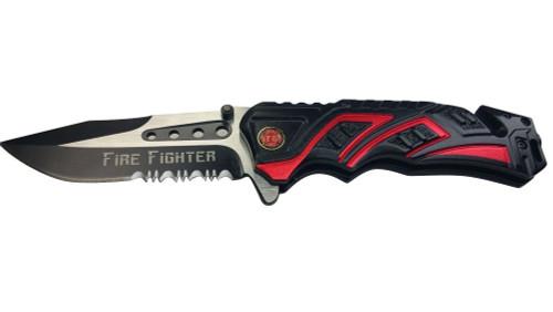Red Firefighter Rescue Pocket Knife