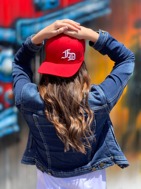 fd old english ball cap red
