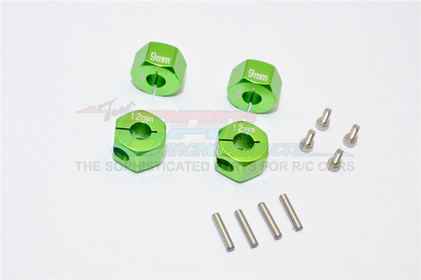 AXIAL-SCX-10 HONCHO ALLOY HEX ADAPTER (12MMX9MM)-4PCS SET FOR AXIAL EXO,SCX10,WRAITH - GPM AX010/12X9MM-G