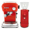 SPECIAL - ASCASO Dream Espresso Coffee Machine and I-Mini Grinder Gloss Red Combo - With Free Extras