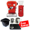 ASCASO DREAM Single Boiler Vibration Pump Espresso Coffee Machine - ASCASO I-MINI Doser-less Coffee Grinder - Gloss Red - Combo - With Free Extras