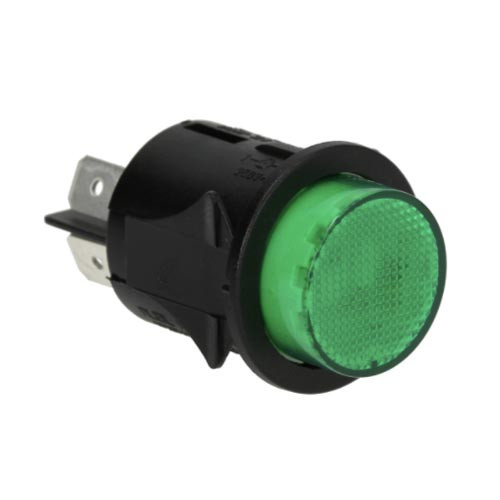 Green Illuminated DPST Switch - Hole 25mm - 16A 250V