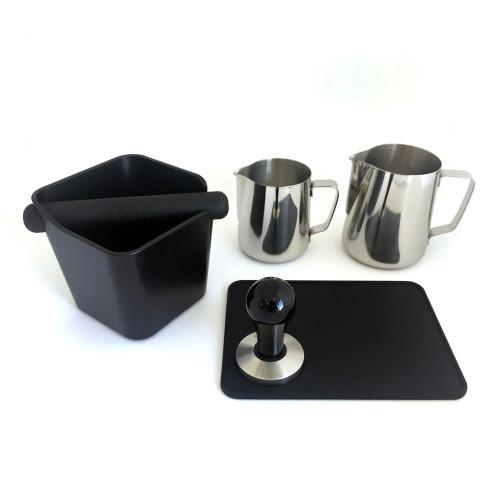 Coffee Accessories Package - Tamper, 350ml Jug, 600ml Jug, Knock Box, Tamping Mat