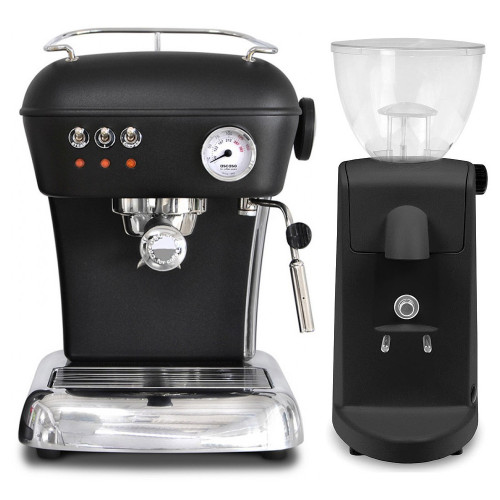 ASCASO DREAM Espresso Coffee Machine - ASCASO I-MINI I-1 Coffee Grinder - BLACK - Combo