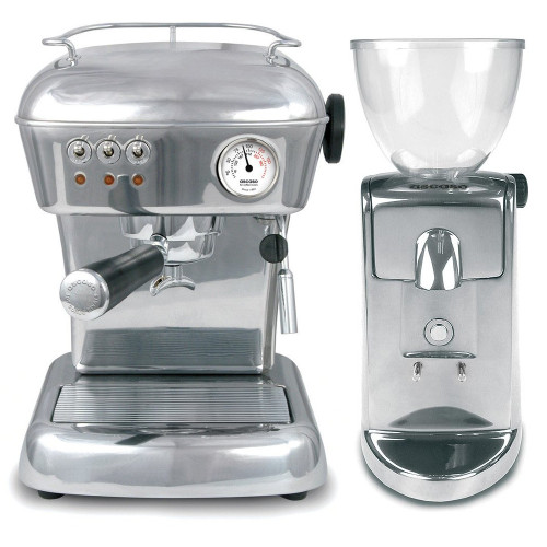 ASCASO DREAM Vibration Pump Tank Espresso Coffee Machine Polished Aluminium - ASCASO I-MINI I-1 Doser-less Coffee Grinder Polished Aluminium Combo