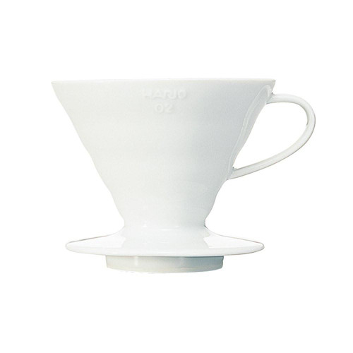 HARIO V60 Drip Filter Coffee Maker - Size 02 - 1-4 Cup - Ceramic White