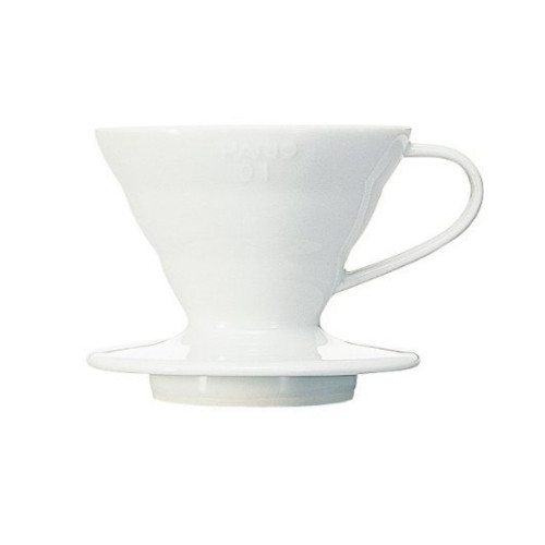 HARIO V60 Drip Filter Coffee Maker - Size 01 - 1-2 Cup - Ceramic White