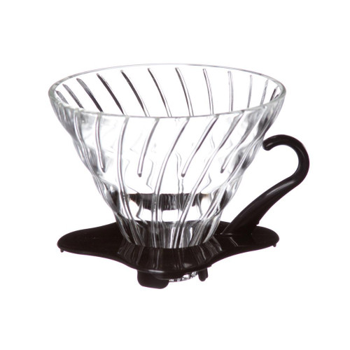 HARIO V60 Drip Filter Coffee Maker - Size 02 - 1-4 Cup - Glass - Black Handle