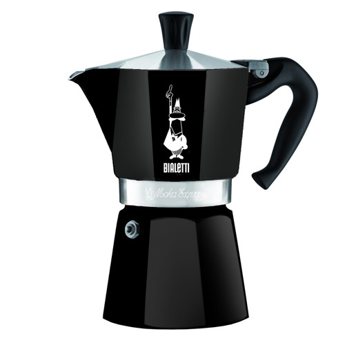 BIALETTI MOKA EXPRESS - 6 Cup - Stovetop Espresso Coffee Maker - BLACK Aluminium
