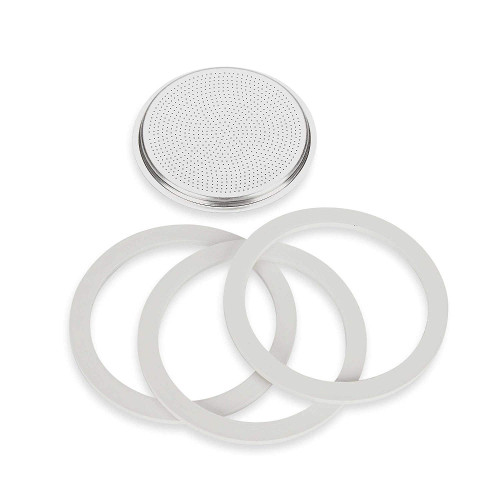 Stovetop Espresso Spare Parts - 3x Seals 1x Filter - BIALETTI MOKA EXPRESS - 12-Cup