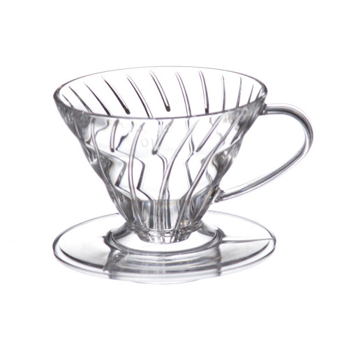 HARIO V60 Drip Filter Coffee Maker - Size 01 - 1-2 Cup - Clear Plastic